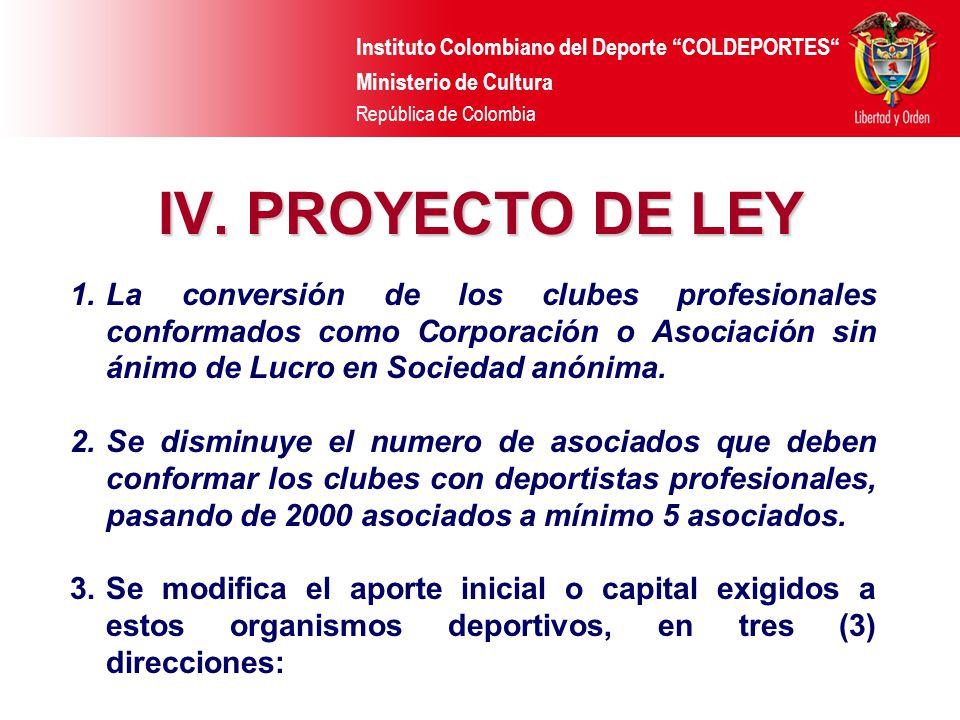 Instituto Colombiano del Deporte COLDEPORTES Ministerio de Cultura República de Colombia IV. PROYECTO DE LEY 1.La conversión de los clubes profesional
