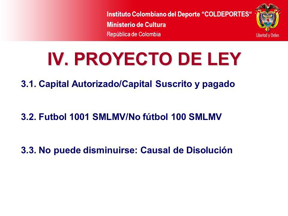 Instituto Colombiano del Deporte COLDEPORTES Ministerio de Cultura República de Colombia IV. PROYECTO DE LEY 3.1. Capital Autorizado/Capital Suscrito