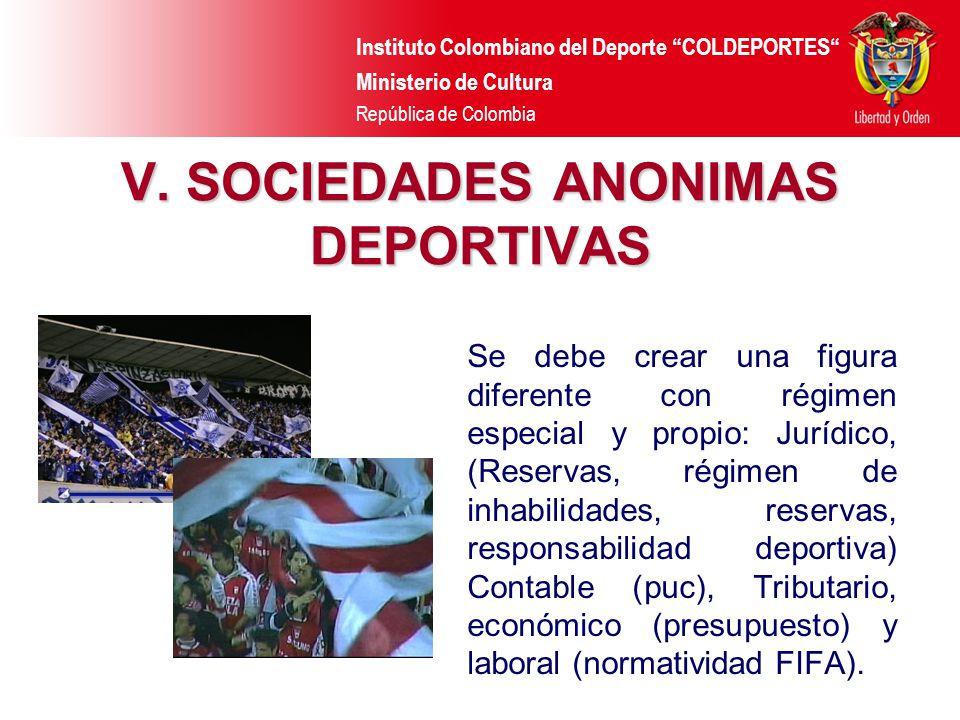 Instituto Colombiano del Deporte COLDEPORTES Ministerio de Cultura República de Colombia V. SOCIEDADES ANONIMAS DEPORTIVAS Se debe crear una figura di