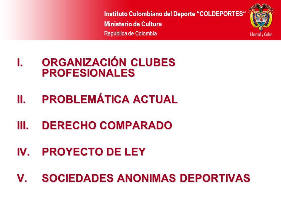 Instituto Colombiano del Deporte COLDEPORTES Ministerio de Cultura República de Colombia I.ORGANIZACIÓN CLUBES PROFESIONALES II.PROBLEMÁTICA ACTUAL II