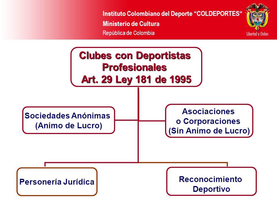 Instituto Colombiano del Deporte COLDEPORTES Ministerio de Cultura República de Colombia Clubes con Deportistas Profesionales Art. 29 Ley 181 de 1995