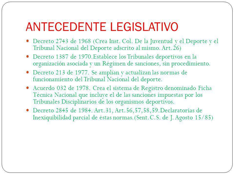 ANTECEDENTE LEGISLATIVO Decreto 2743 de 1968 (Crea Inst. Col. De la Juventud y el Deporte y el Tribunal Nacional del Deporte adscrito al mismo. Art.26