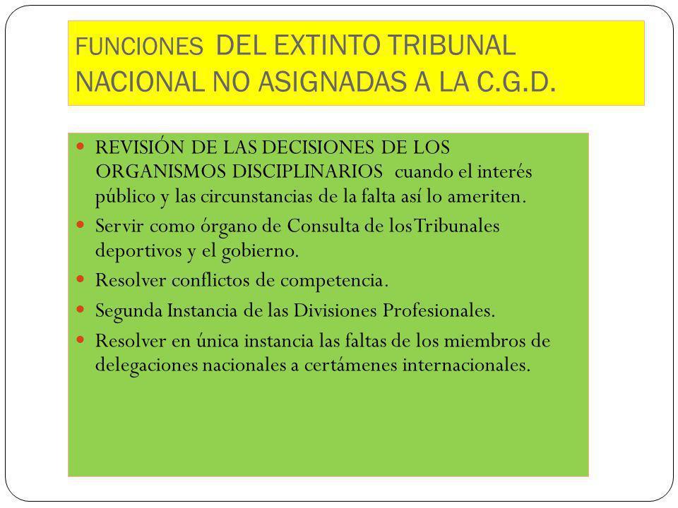 FUNCIONES DEL EXTINTO TRIBUNAL NACIONAL NO ASIGNADAS A LA C.G.D. REVISIÓN DE LAS DECISIONES DE LOS ORGANISMOS DISCIPLINARIOS cuando el interés público