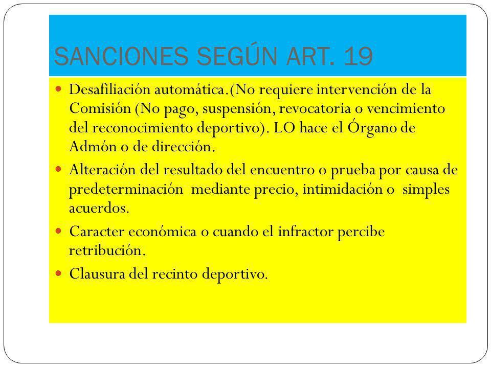 SANCIONES SEGÚN ART. 19 Desafiliación automática.(No requiere intervención de la Comisión (No pago, suspensión, revocatoria o vencimiento del reconoci