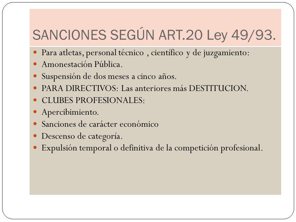 SANCIONES SEGÚN ART.20 Ley 49/93. Para atletas, personal técnico, científico y de juzgamiento: Amonestación Pública. Suspensión de dos meses a cinco a