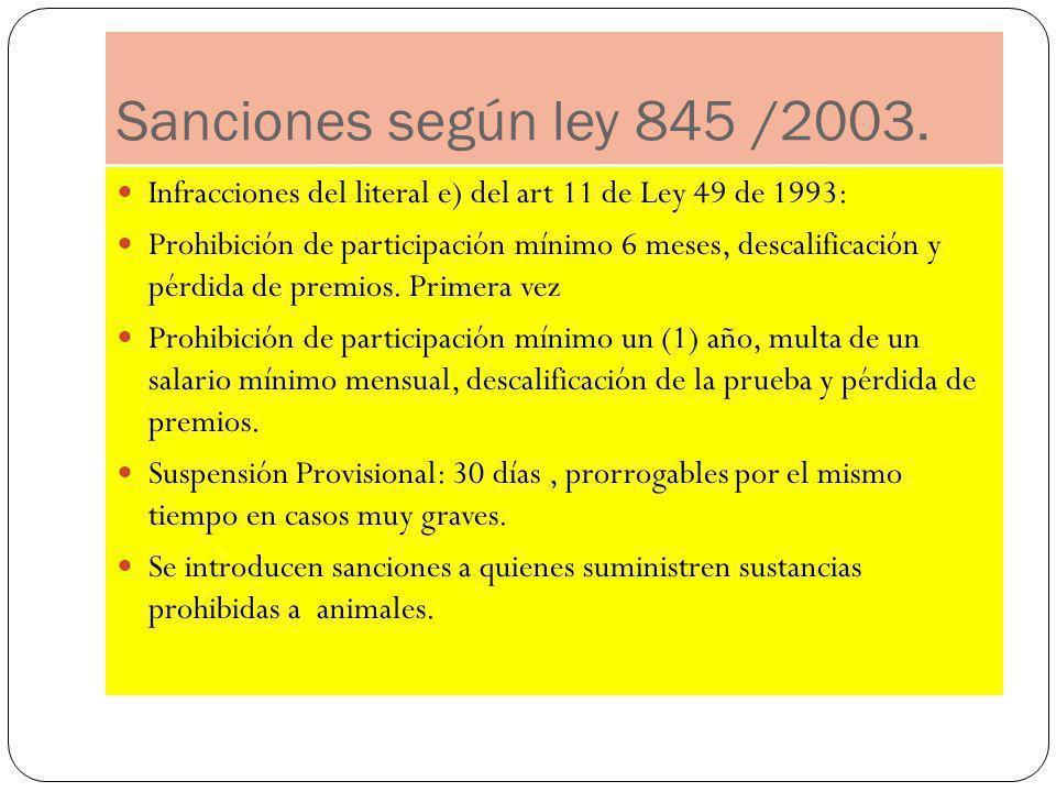 Sanciones según ley 845 /2003. Infracciones del literal e) del art 11 de Ley 49 de 1993: Prohibición de participación mínimo 6 meses, descalificación