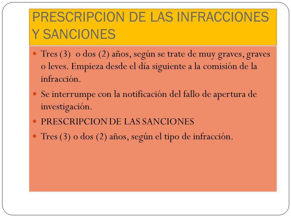 PRESCRIPCION DE LAS INFRACCIONES Y SANCIONES Tres (3) o dos (2) años, según se trate de muy graves, graves o leves. Empieza desde el día siguiente a l