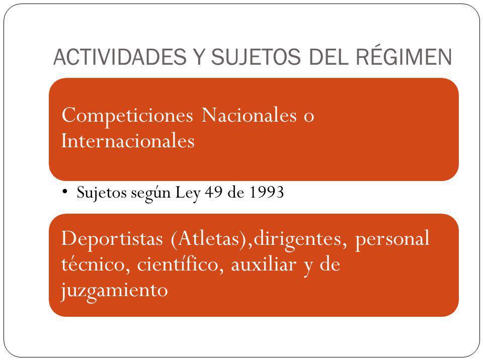 ACTIVIDADES Y SUJETOS DEL RÉGIMEN Competiciones Nacionales o Internacionales Sujetos según Ley 49 de 1993 Deportistas (Atletas),dirigentes, personal t