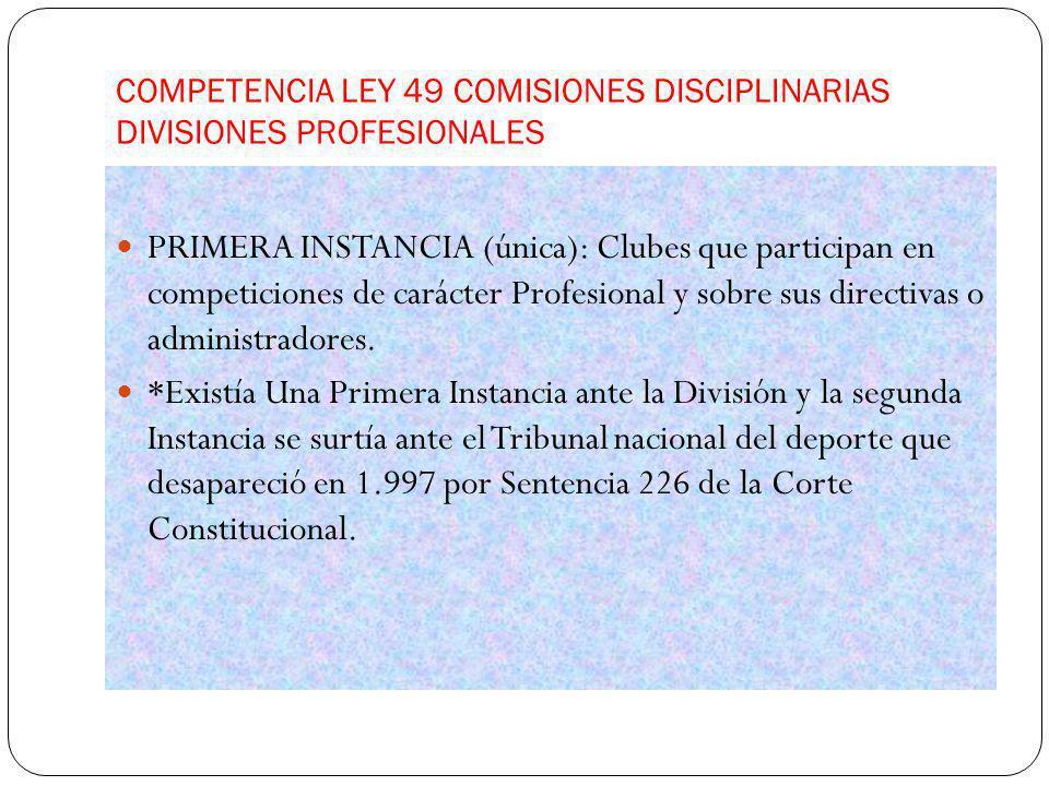 COMPETENCIA LEY 49 COMISIONES DISCIPLINARIAS DIVISIONES PROFESIONALES PRIMERA INSTANCIA (única): Clubes que participan en competiciones de carácter Pr