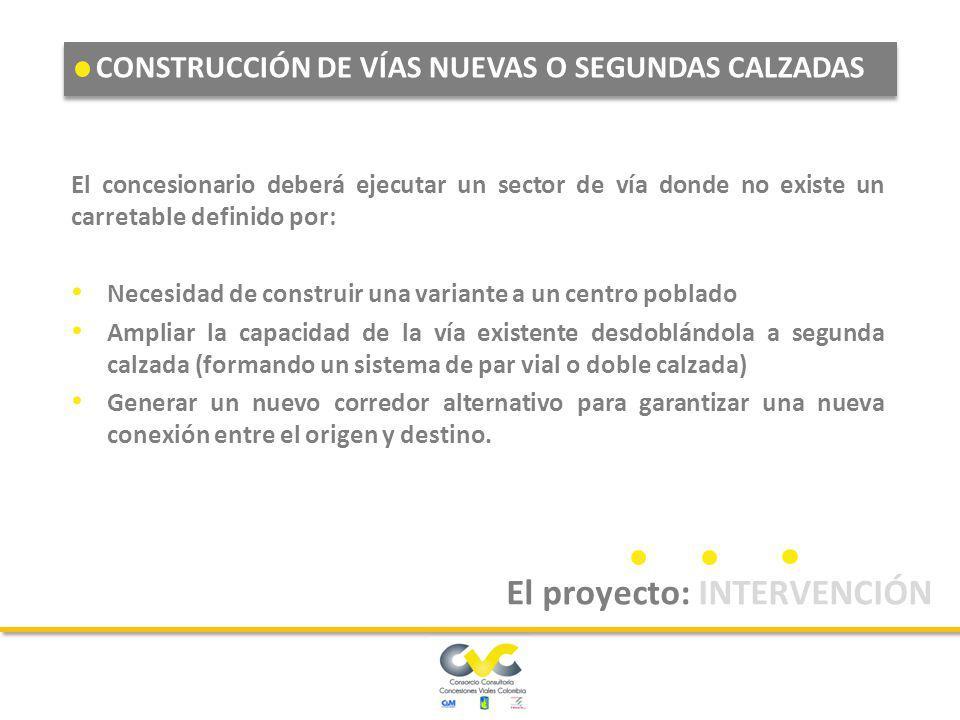CONSTRUCCIÓN DE VÍAS NUEVAS O SEGUNDAS CALZADAS MEJORAMIENTO DE VÍAS EXISTENTES REHABILITACIÓN DE VÍAS El proyecto: INTERVENCIÓN Estos con los tres ti
