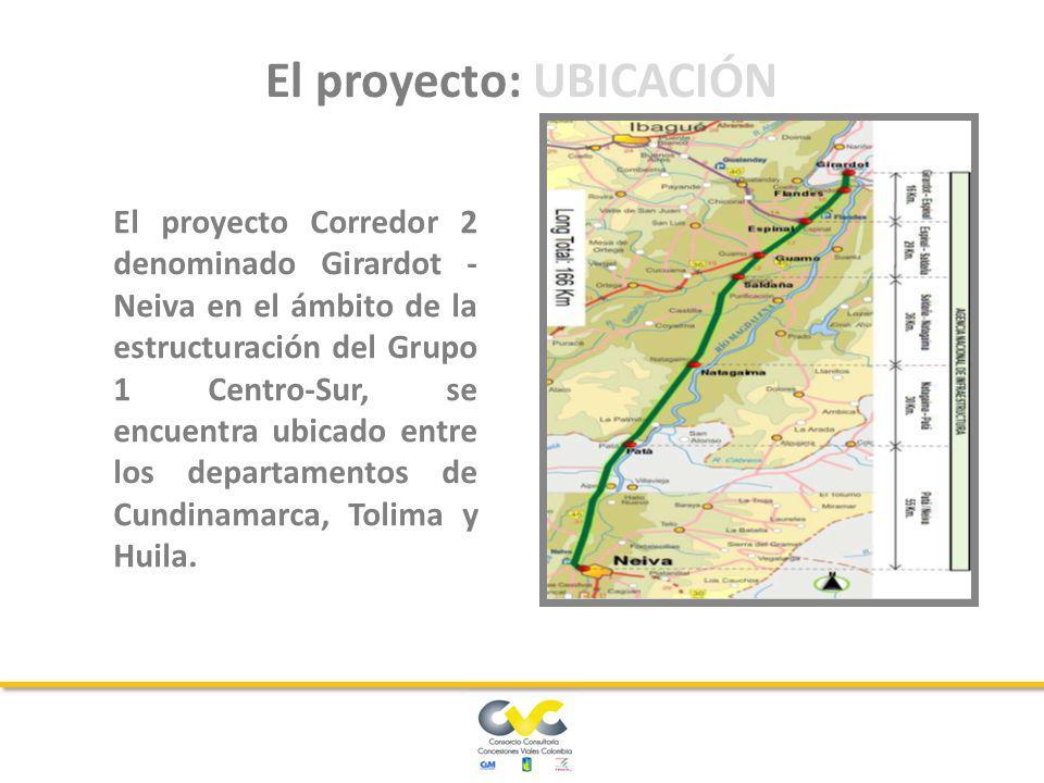 El proyecto Corredor 2 denominado Girardot - Neiva en el ámbito de la estructuración del Grupo 1 Centro-Sur, se encuentra ubicado entre los departamentos de Cundinamarca, Tolima y Huila.