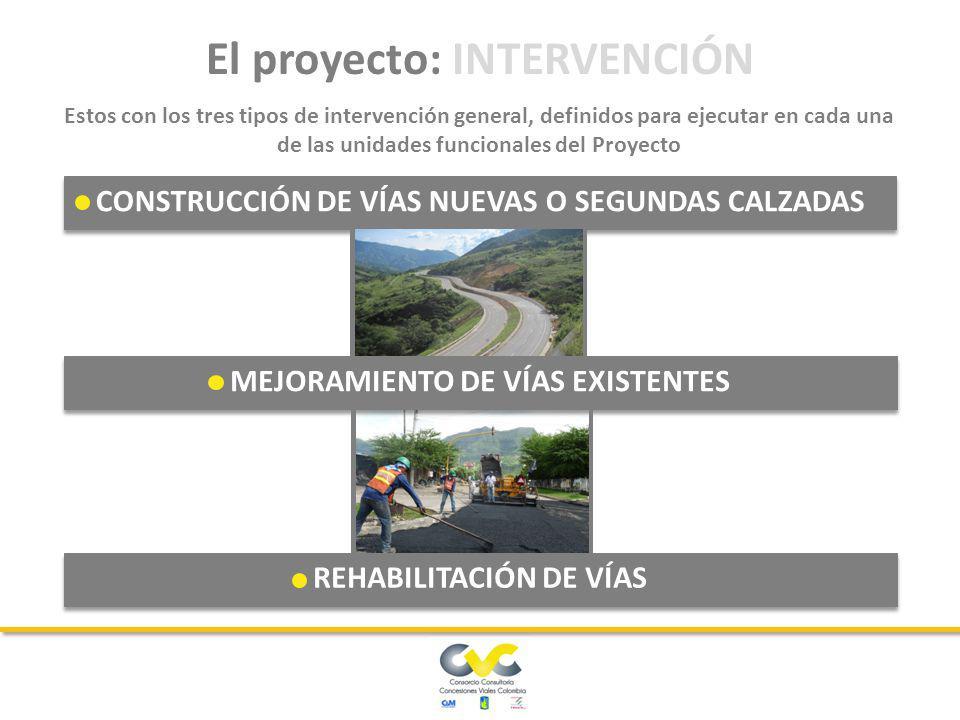 CONSTRUCCIÓN DE VÍAS NUEVAS O SEGUNDAS CALZADAS MEJORAMIENTO DE VÍAS EXISTENTES REHABILITACIÓN DE VÍAS El proyecto: INTERVENCIÓN Estos con los tres tipos de intervención general, definidos para ejecutar en cada una de las unidades funcionales del Proyecto