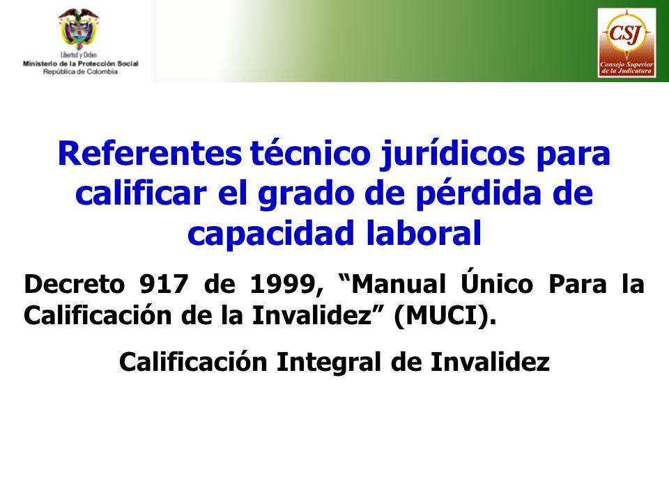 Referentes técnico jurídicos para calificar el grado de pérdida de capacidad laboral Decreto 917 de 1999, Manual Único Para la Calificación de la Inva