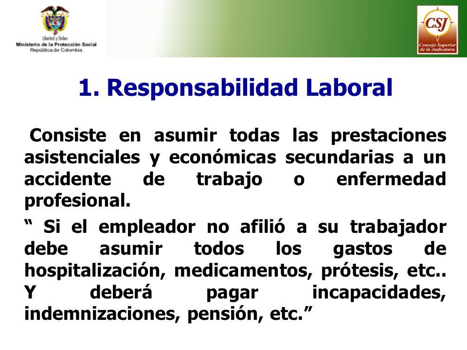 1. Responsabilidad Laboral Consiste en asumir todas las prestaciones asistenciales y económicas secundarias a un accidente de trabajo o enfermedad pro