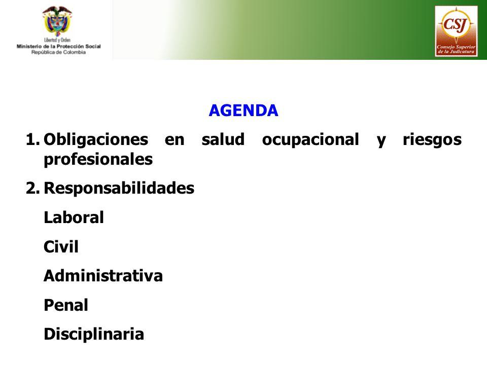 AGENDA 1.Obligaciones en salud ocupacional y riesgos profesionales 2.Responsabilidades Laboral Civil Administrativa Penal Disciplinaria