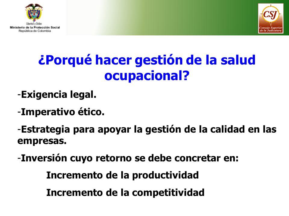 ¿Porqué hacer gestión de la salud ocupacional? -Exigencia legal. -Imperativo ético. -Estrategia para apoyar la gestión de la calidad en las empresas.