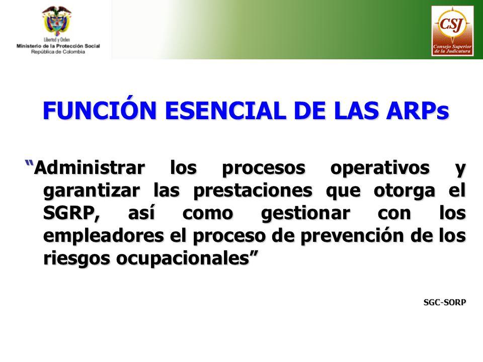 FUNCIÓN ESENCIAL DE LAS ARPs Administrar los procesos operativos y garantizar las prestaciones que otorga el SGRP, así como gestionar con los empleado