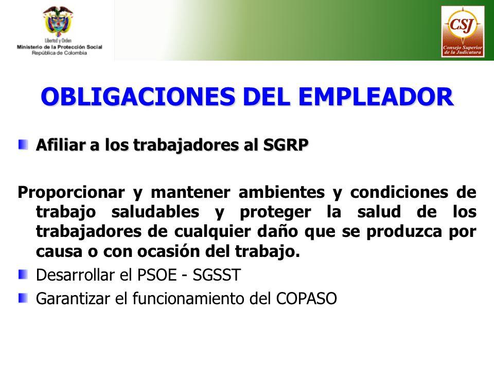 OBLIGACIONES DEL EMPLEADOR Afiliar a los trabajadores al SGRP Proporcionar y mantener ambientes y condiciones de trabajo saludables y proteger la salu