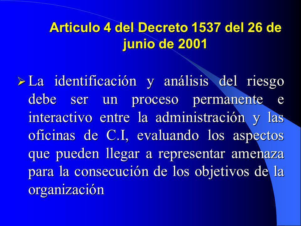 Articulo 4 del Decreto 1537 del 26 de junio de 2001 Como parte integral del fortalecimiento de los Sistemas de Control Interno en las entidades públic