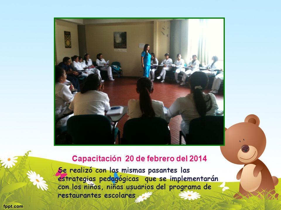 Capacitación 20 de febrero del 2014 Se realizó con las mismas pasantes las estrategias pedagógicas que se implementarán con los niños, niñas usuarios