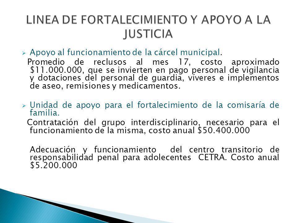 Apoyo al funcionamiento de la cárcel municipal. Promedio de reclusos al mes 17, costo aproximado $11.000.000, que se invierten en pago personal de vig