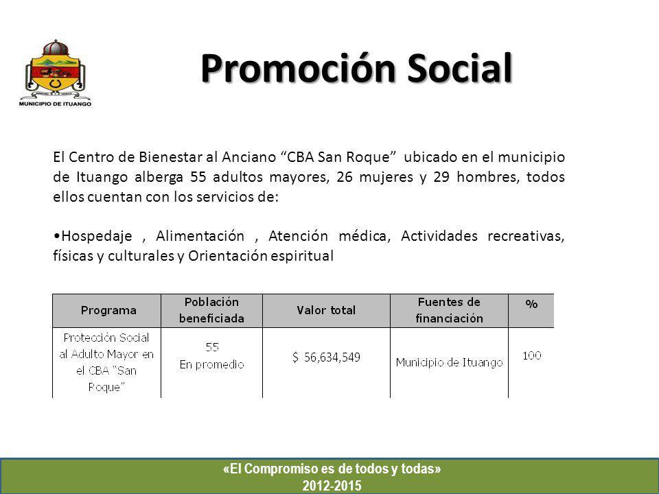 Promoción Social «El Compromiso es de todos y todas» 2012-2015 El Centro de Bienestar al Anciano CBA San Roque ubicado en el municipio de Ituango albe