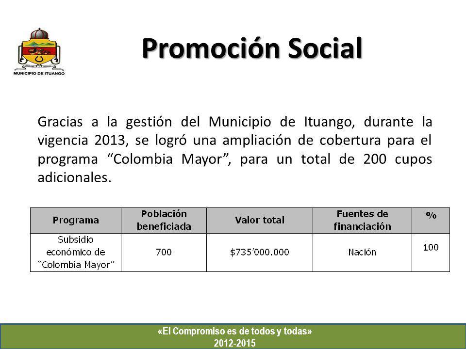 Promoción Social «El Compromiso es de todos y todas» 2012-2015 Gracias a la gestión del Municipio de Ituango, durante la vigencia 2013, se logró una a
