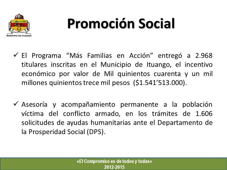 «El Compromiso es de todos y todas» 2012-2015 Promoción Social El Programa Más Familias en Acción entregó a 2.968 titulares inscritas en el Municipio