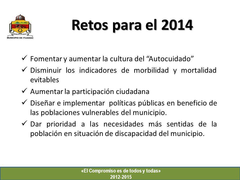 «El Compromiso es de todos y todas» 2012-2015 Retos para el 2014 Fomentar y aumentar la cultura del Autocuidado Disminuir los indicadores de morbilida