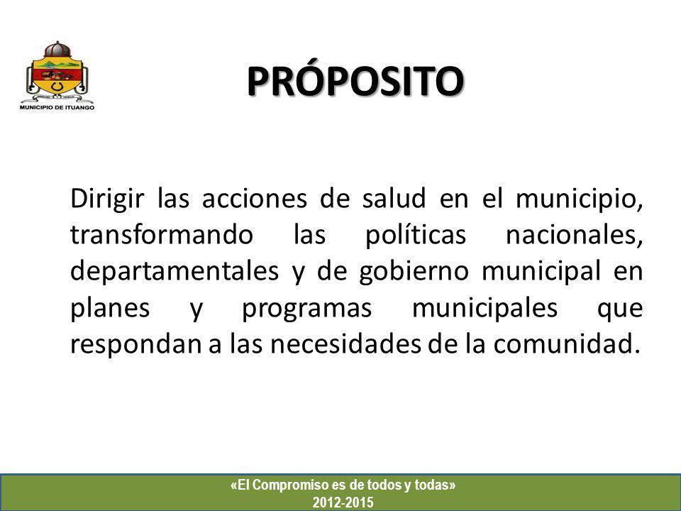 PRÓPOSITO «El Compromiso es de todos y todas» 2012-2015 Dirigir las acciones de salud en el municipio, transformando las políticas nacionales, departa