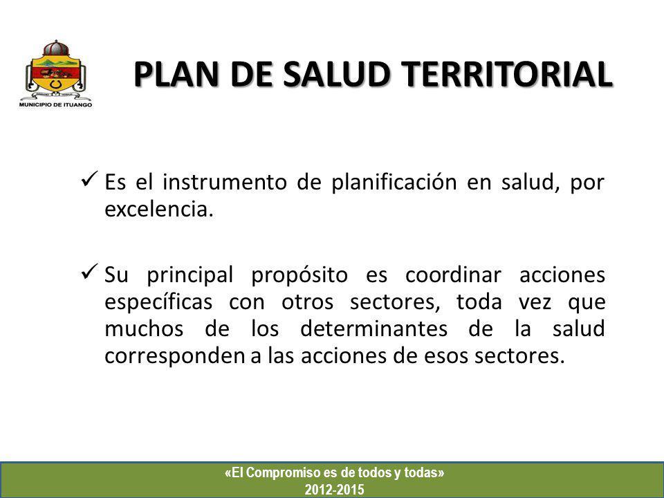 PLAN DE SALUD TERRITORIAL «El Compromiso es de todos y todas» 2012-2015 Es el instrumento de planificación en salud, por excelencia. Su principal prop