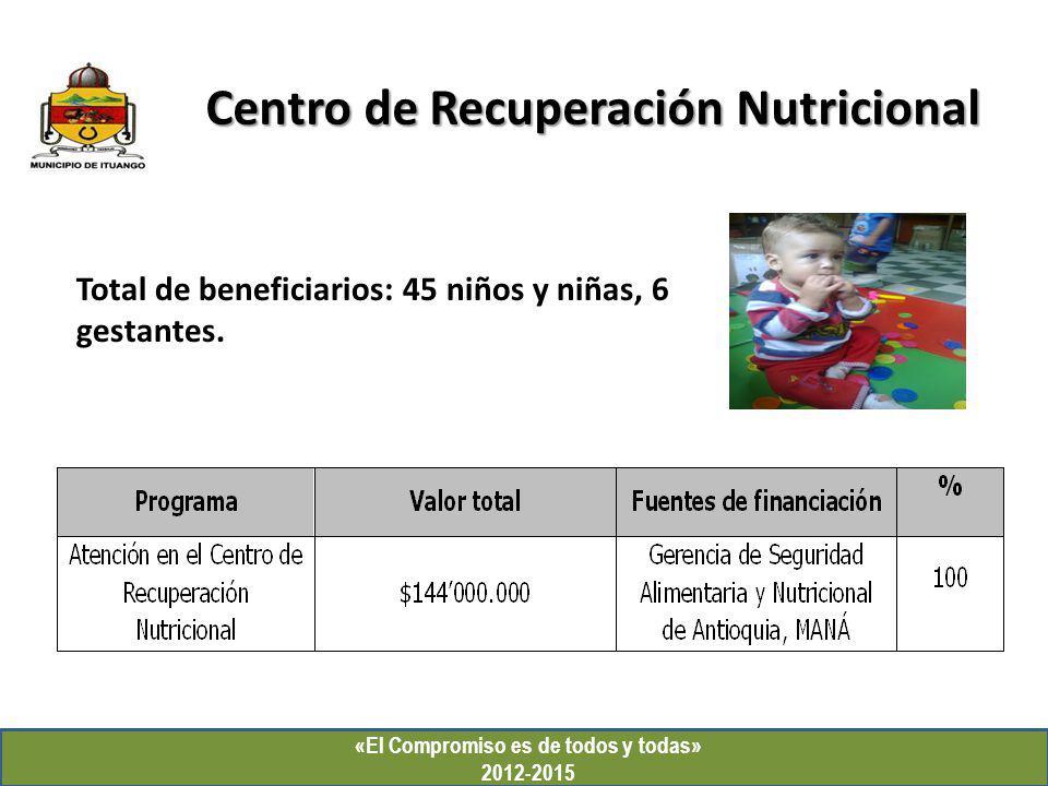 «El Compromiso es de todos y todas» 2012-2015 Centro de Recuperación Nutricional Total de beneficiarios: 45 niños y niñas, 6 gestantes.
