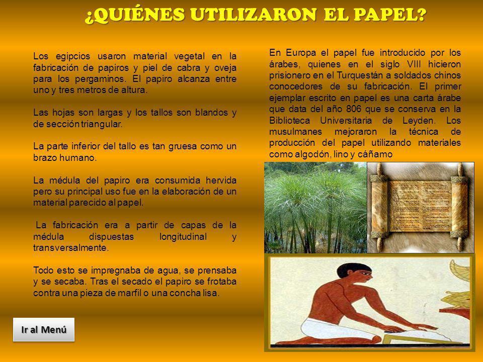 Los egipcios usaron material vegetal en la fabricación de papiros y piel de cabra y oveja para los pergaminos. El papiro alcanza entre uno y tres metr