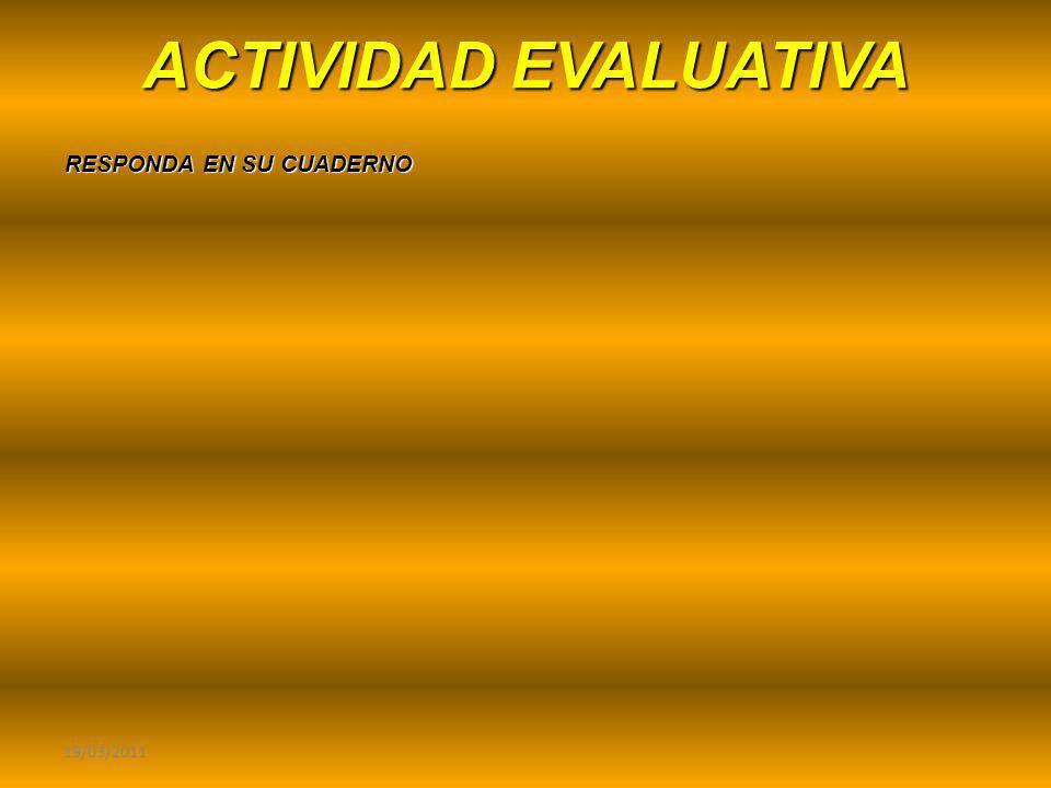 ACTIVIDAD EVALUATIVA 19/03/2011 RESPONDA EN SU CUADERNO