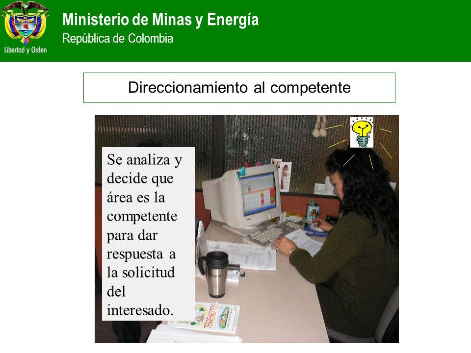 Ministerio de Minas y Energía República de Colombia Direccionamiento al competente Se analiza y decide que área es la competente para dar respuesta a