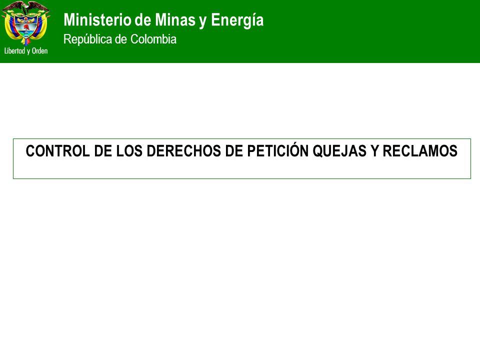 Ministerio de Minas y Energía República de Colombia CONTROL DE LOS DERECHOS DE PETICIÓN QUEJAS Y RECLAMOS