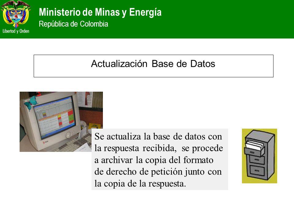 Ministerio de Minas y Energía República de Colombia Actualización Base de Datos Se actualiza la base de datos con la respuesta recibida, se procede a