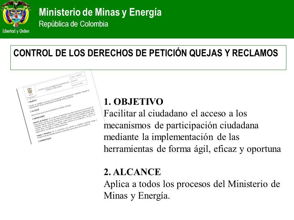 Ministerio de Minas y Energía República de Colombia CONTROL DE LOS DERECHOS DE PETICIÓN QUEJAS Y RECLAMOS 1. OBJETIVO Facilitar al ciudadano el acceso