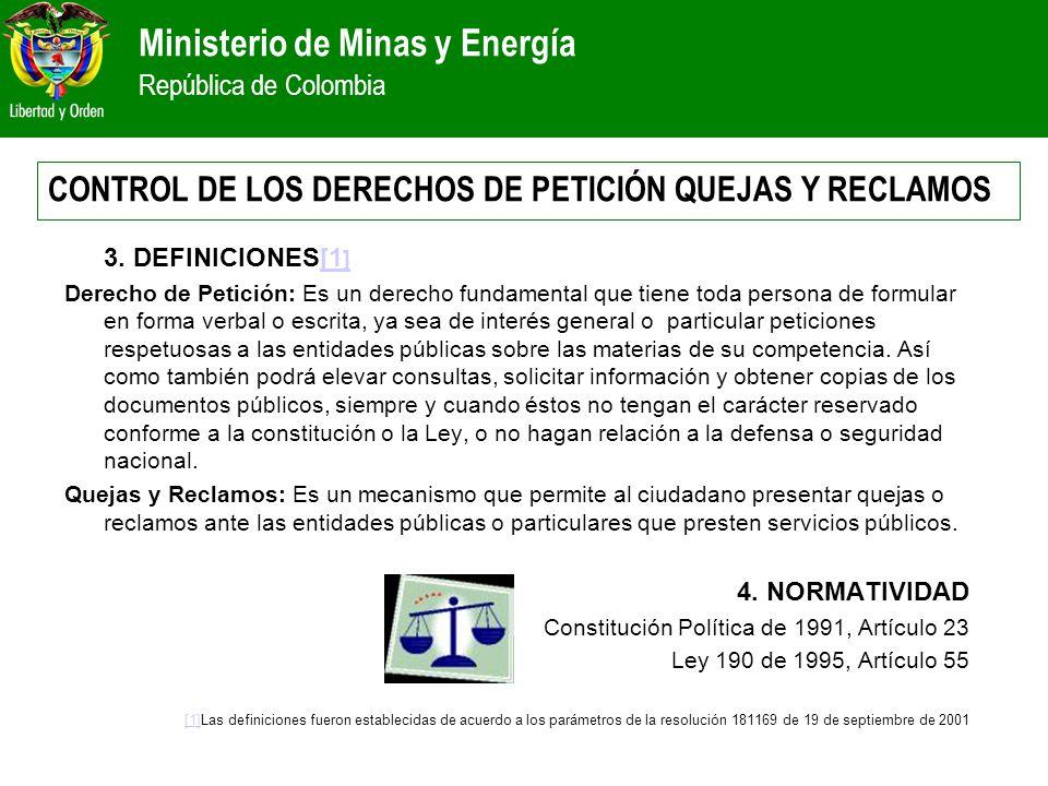 Ministerio de Minas y Energía República de Colombia 3. DEFINICIONES[1 ][1 ] Derecho de Petición: Es un derecho fundamental que tiene toda persona de f