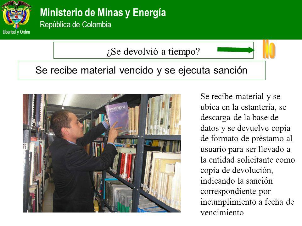Ministerio de Minas y Energía República de Colombia Se recibe material y se ubica en la estantería, se descarga de la base de datos y se devuelve copi