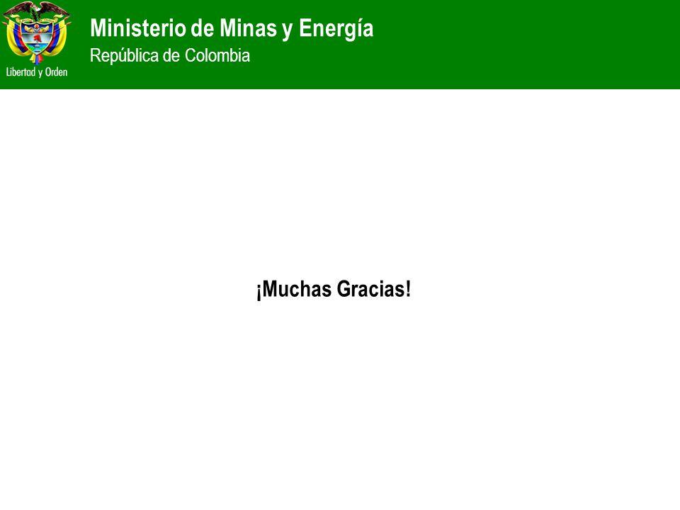 Ministerio de Minas y Energía República de Colombia ¡Muchas Gracias!