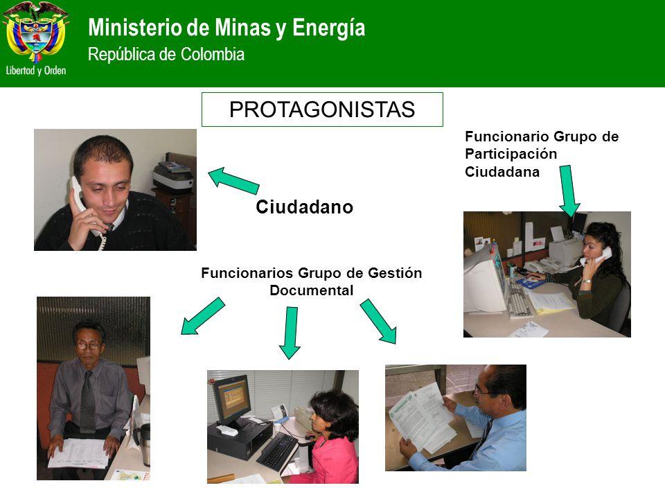 Ministerio de Minas y Energía República de Colombia Ciudadano Funcionarios Grupo de Gestión Documental Funcionario Grupo de Participación Ciudadana PR
