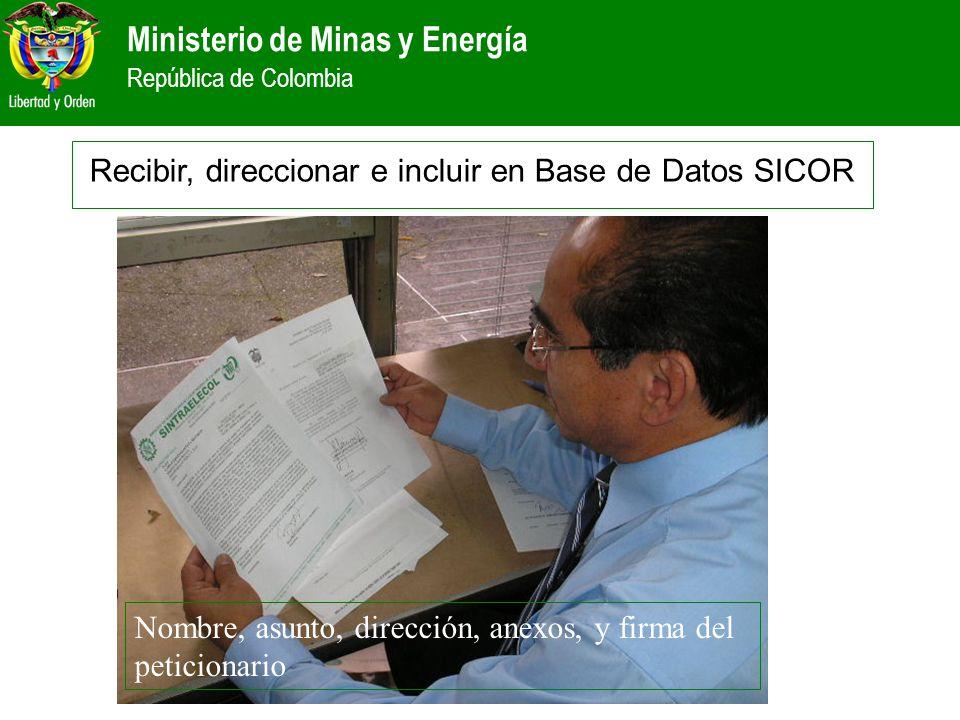 Ministerio de Minas y Energía República de Colombia Nombre, asunto, dirección, anexos, y firma del peticionario Recibir, direccionar e incluir en Base