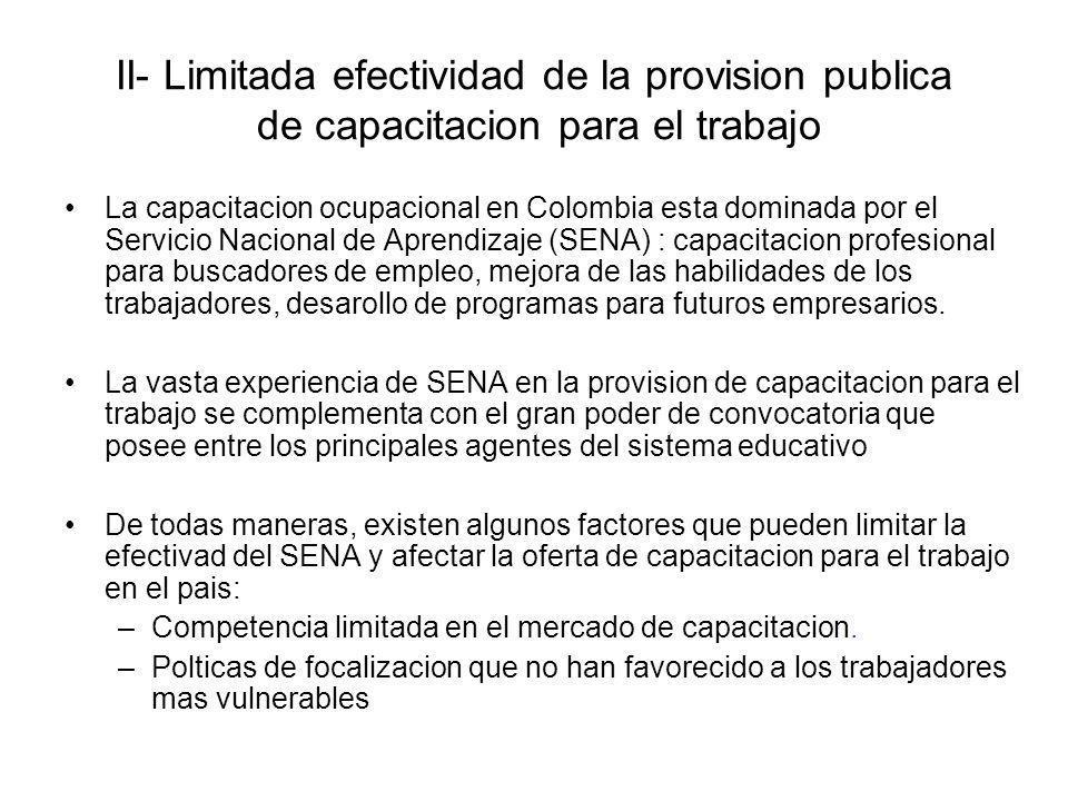 II- Limitada efectividad de la provision publica de capacitacion para el trabajo La capacitacion ocupacional en Colombia esta dominada por el Servicio
