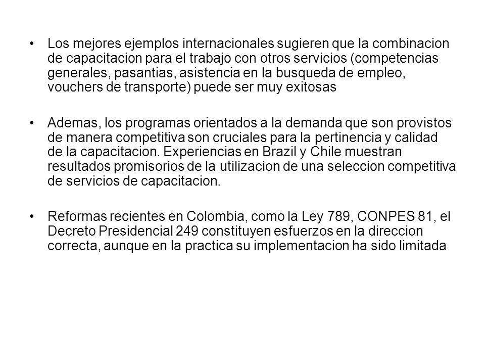 Los mejores ejemplos internacionales sugieren que la combinacion de capacitacion para el trabajo con otros servicios (competencias generales, pasantia