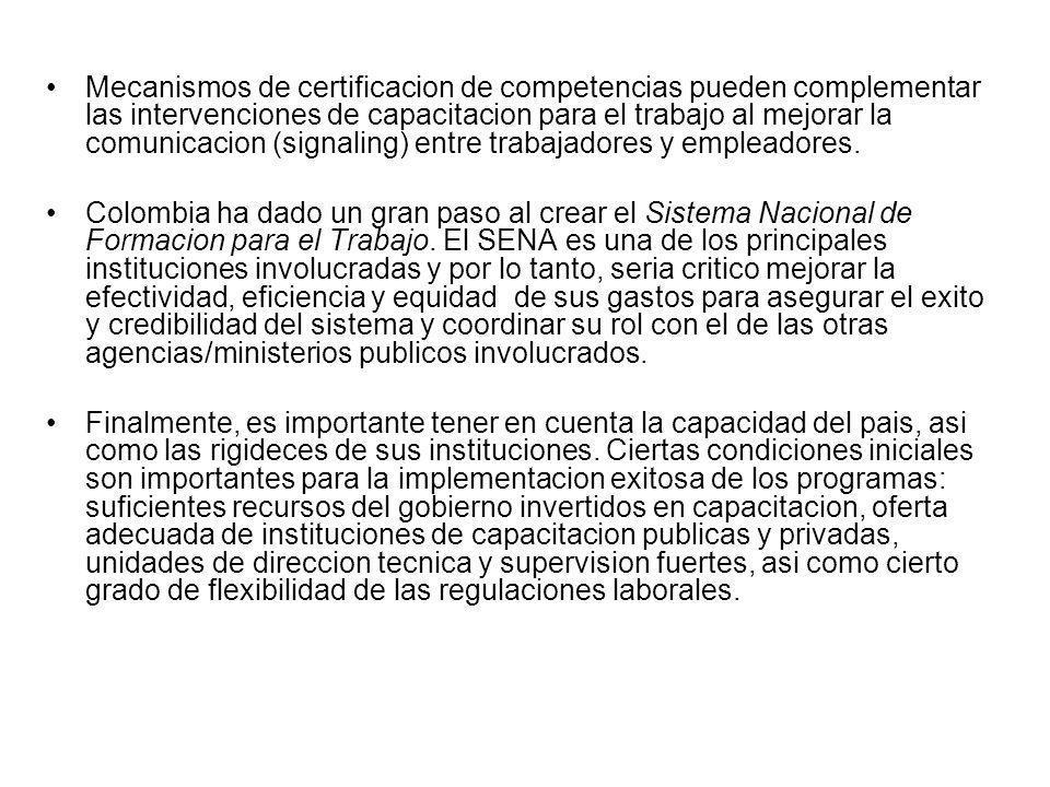 Mecanismos de certificacion de competencias pueden complementar las intervenciones de capacitacion para el trabajo al mejorar la comunicacion (signali