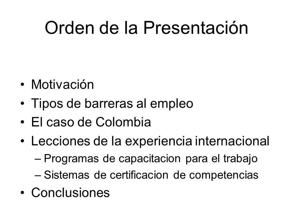 Orden de la Presentación Motivación Tipos de barreras al empleo El caso de Colombia Lecciones de la experiencia internacional –Programas de capacitaci
