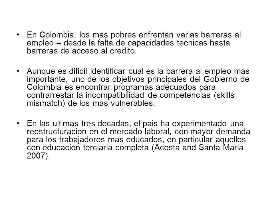 En Colombia, los mas pobres enfrentan varias barreras al empleo – desde la falta de capacidades tecnicas hasta barreras de acceso al credito. Aunque e