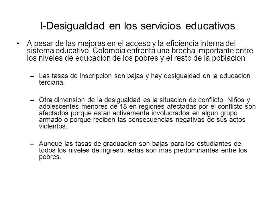 I-Desigualdad en los servicios educativos A pesar de las mejoras en el acceso y la eficiencia interna del sistema educativo, Colombia enfrenta una bre