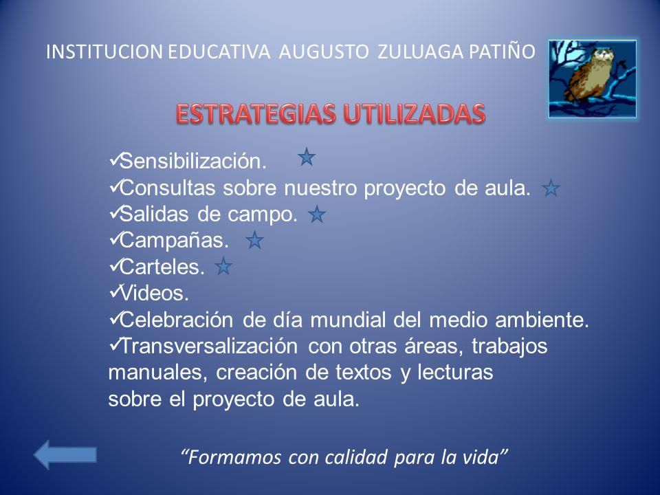 INSTITUCION EDUCATIVA AUGUSTO ZULUAGA PATIÑO Sensibilización. Consultas sobre nuestro proyecto de aula. Salidas de campo. Campañas. Carteles. Videos.